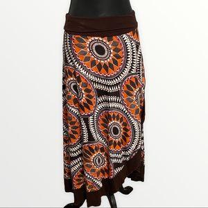 Luna Claire Midi Skirt Size Large  Brown Orange Cream Jersey Stretch Faux Wrap